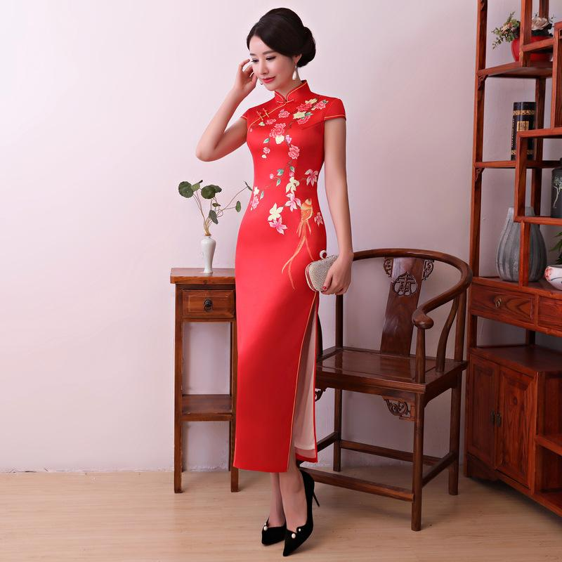 New Arrival Print Chinese Style Evening Dress Vintage Women Plus ... e56bc084485c