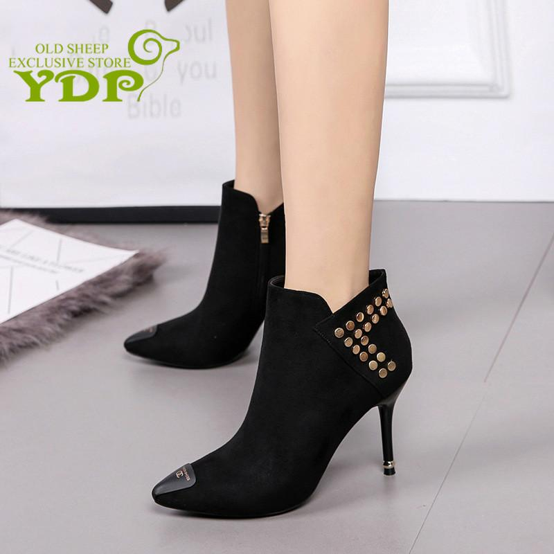 5a6cff2897ad2 Design Contracted Solid Black Women Pointed Toe Stiletto High Heels ...