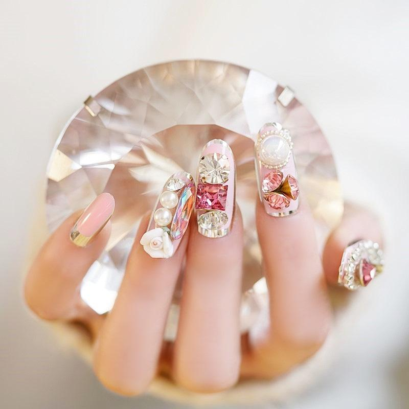 Pink Wedding Nails Fashion Long Fake Nails Tips Oval Pink Rhinestone  Diamond Flower Decorated For With Glue Sticker Acrylic Nails Designs Gel  Nail From ... fafd3ced1e29