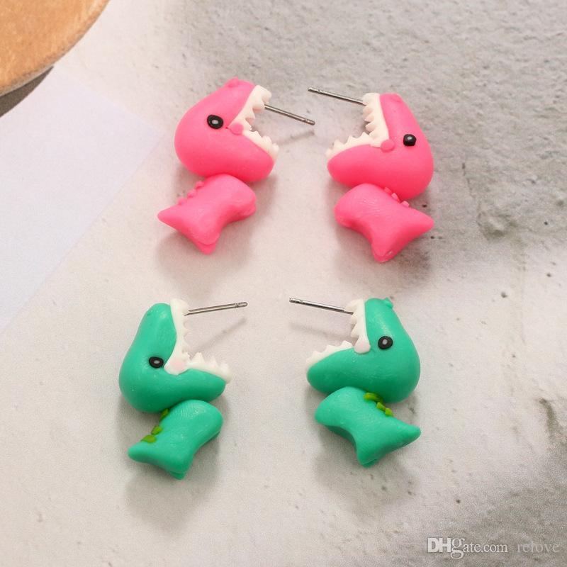 2018 Newest 3D Handmade Polymer Clay Lovely dinosaur Stud Earring For Women Girl Earrings Jewelry