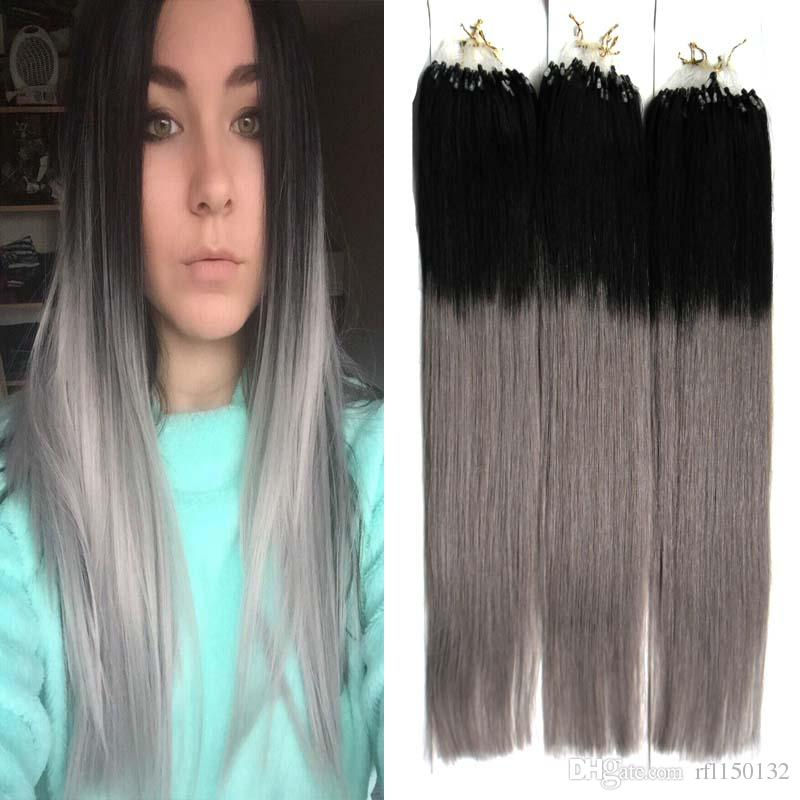 T1bgray Ombre Straight Micro Loop Human Hair Extensions Remy Hair