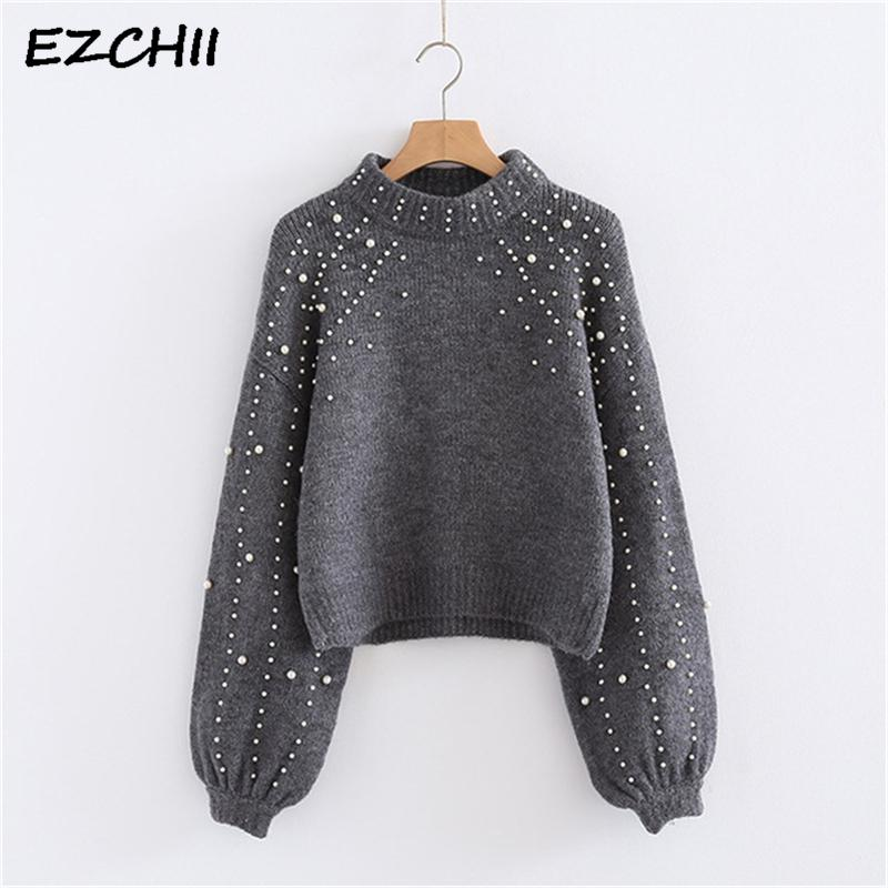 c6234f6be9 Lady s Sweater Pearl Beaded Pullover Women Winter Autumn Knitted Long  Sleeve Casual Sweater And Pullovers Tops 6Q0692 S18100801 Online with   23.43 Piece on ...