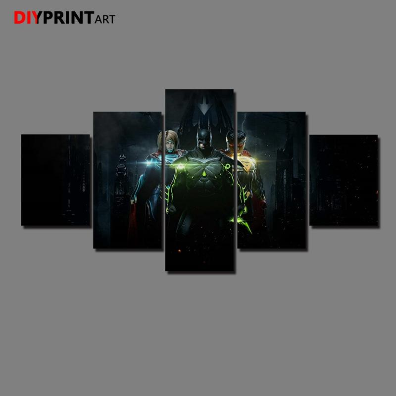 Batman Superman 5 Pieces Canvas Art Painting Pictures for Living Room Home Decoration A1308