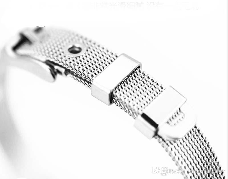 10 unids Pulseras 8mm * 210mm Pulseras Brazaletes de Acero Inoxidable Accesorios de BRICOLAJE Para 8mm Encantos de Diapositivas Letras de Perlas Joyas de Moda