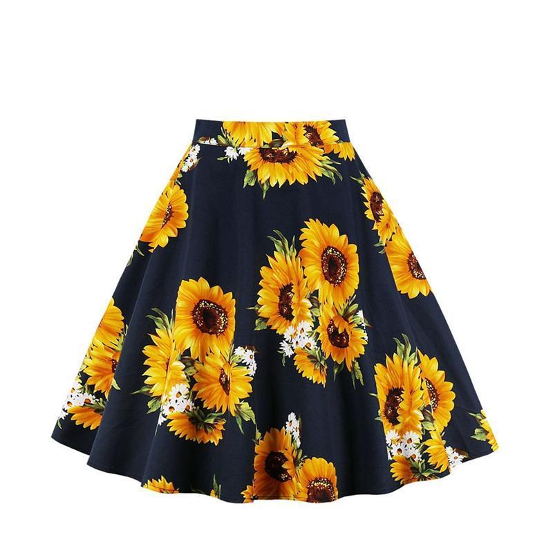 d43d27a64b 2019 Women Sunflower Floral Skirts Printed High Waist Swing Pleated Midi  Skirts Female Casual Summer Skirt From Maluokui