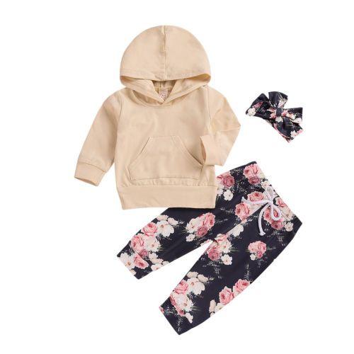 810095b28007 Newborn Kids Baby Girl Cotton Hooded Tops Sweatshirt+Floral Pants ...