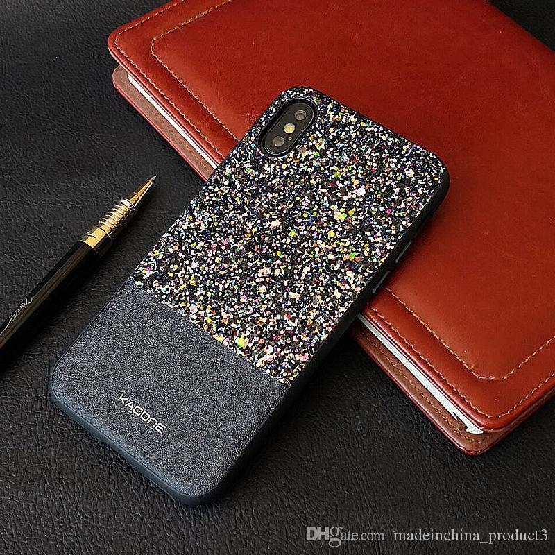 Bling Leather TPU Phone Case for iphone X 8 7 plus Luxury Diamond Rhinestone Glitter Shinny Shockproof Back Cover