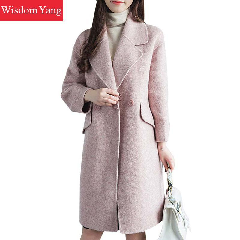 13f2447315 Elegant Winter Warm Pink Coat Sheep Wool Alpaca Coats Long Women 2018  Korean Casual Fashion Oversize Woolen Overcoat Outerwear Online with   538.32 Piece on ...