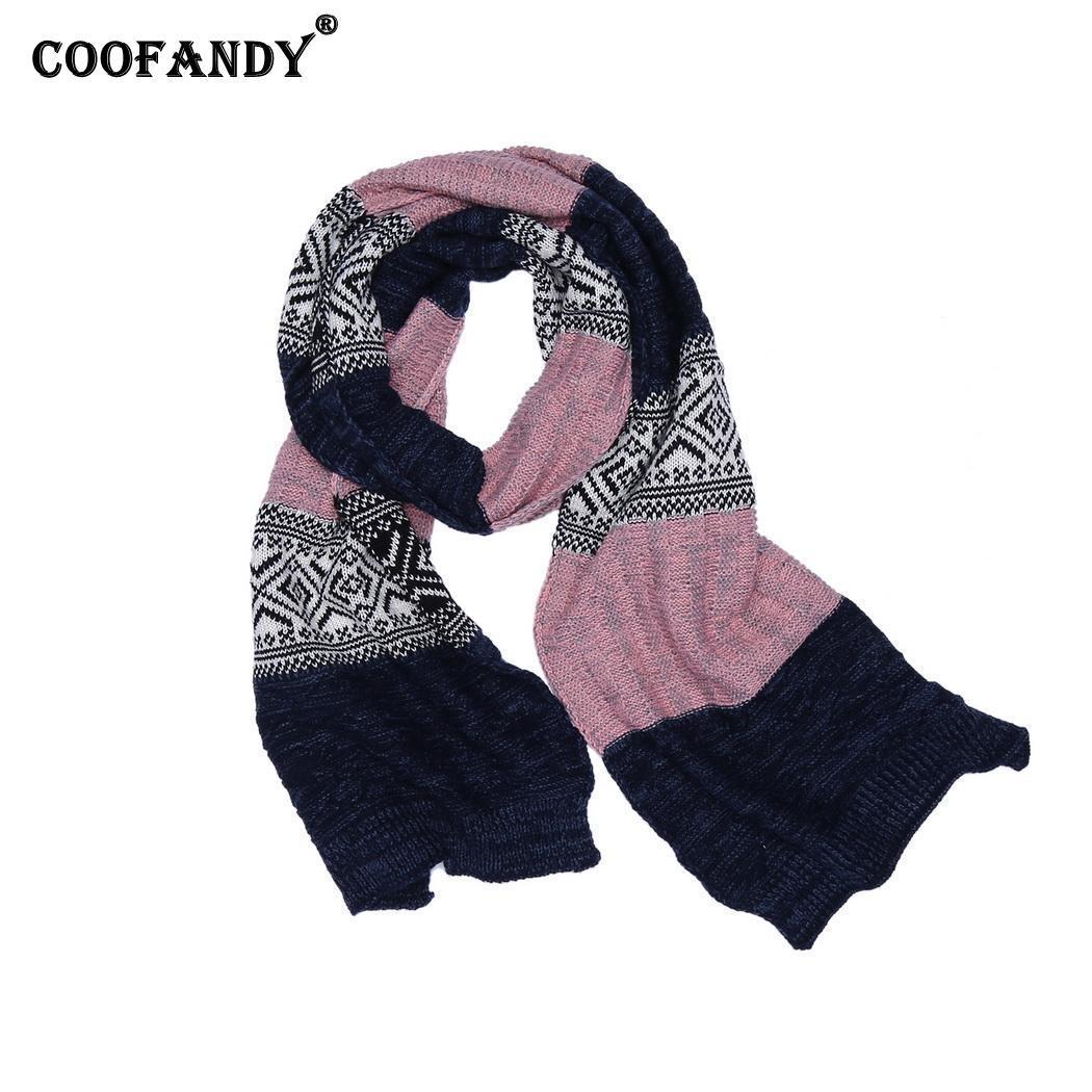 codice promozionale 359ec 2e636 Sciarpe morbide a patchwork a maglia larga per il cavo etnico esterno da  uomo Casual rosa autunno sci sport caldo sciarpa lunga patchwork invernale
