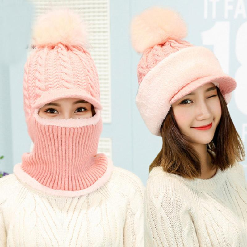 181aefb74db 2019 HT2080 Winter Hats For Women Big Fur Pompon Ball Knitted Hat Ladies  Solid 2 In 1 Hat Scarf Set Thick Warm Ski Earflap Visor Cap From Oldnavy
