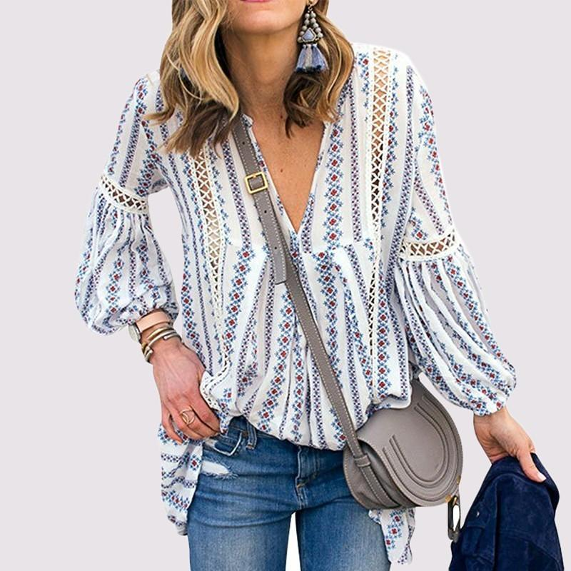 e26eb9ad168f 2019 Spring Summer Women Long Bohemian Blouse Deep V Neck Lantern Sleeve  Loose Hollow Out Floral Print Shirts Tee From Baica