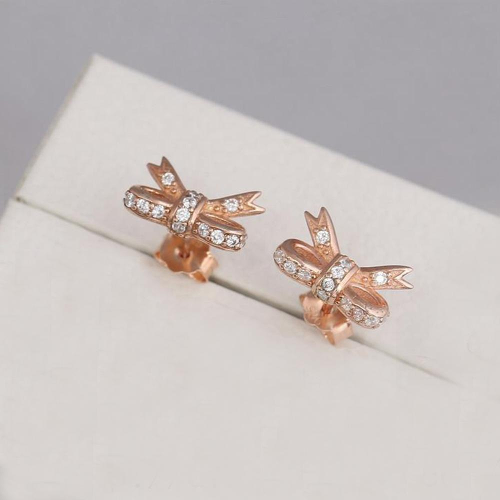 41c8575fb 2019 Authentic 925 Sterling Silver Sparkling Bow Earrings Fits European  Pandora Style Jewelry Clear CZ Rose Gold Plated Studs From Morepandora, ...