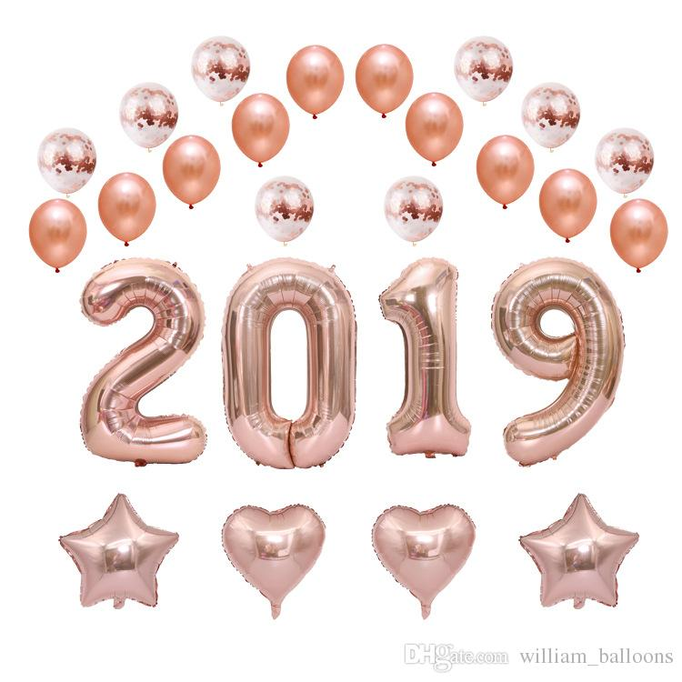 Fashion Rose Gold Color Foil Balloon Set Lovely Party Dressing Air
