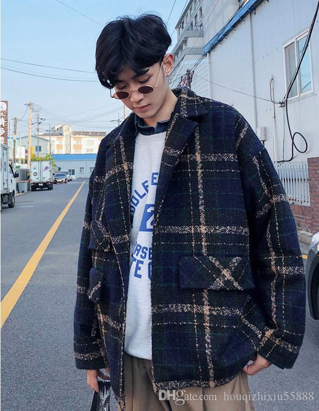 04fca9543e74 Großhandel Männer Wollmantel Winter 2018 Herren Plaid Jacken Und Mäntel  Männlich Casual Korean Fashion Windbreaker Mantel Warm Outwear Von  Houqizhixiu55888, ...