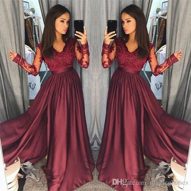 Hot Burgundy Lace Prom Dresses 2018 Sheer Vintage Long Sleeves A Line V  Neck Formal Party Wear Prom Pageant Gowns Arabic Prom Shop Prom Short  Dresses From ... 8415d9d22