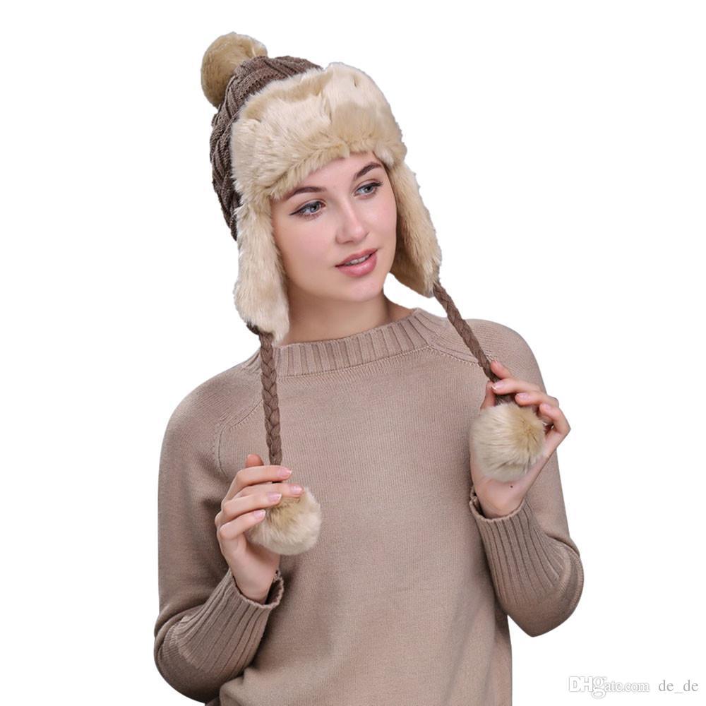 9d2377a25fb 2019 ChamsGend 2017 Hot Sale Warm Women Winter Hat With Ear Flaps Snow Ski  Thick Knit Wool Beanie Cap Hat Dropship 171020 From De de