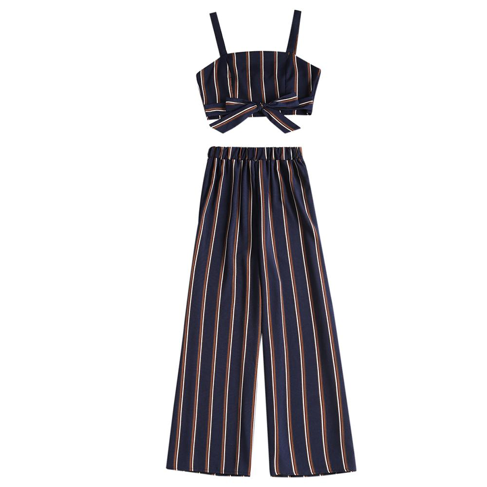 9bf5bcc3c453e 2019 ZAFUL Striped Summer Women Sets Spaghetti Straps Square Neck  Sleeveless Bow Crop Top Elastic High Waist Loose Pants Twp Pieces From  Cupidcloth