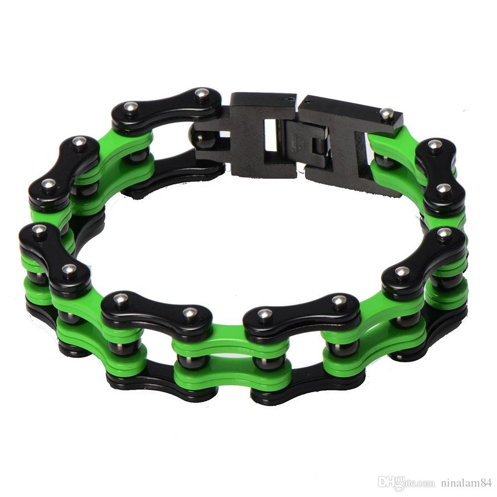 New Arrive 22cm*17mm 316L Stainless Steel Green Yellow Colors Motor Bangle jewelry Huge Heavy Men Motorcycle Biker Chain Bracelet For Boy