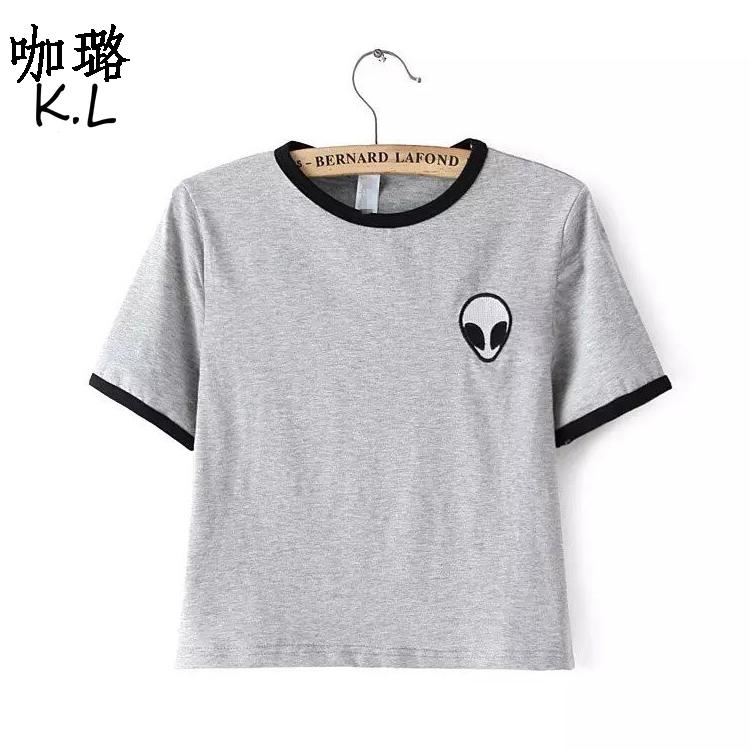 7b31e51a 2018 Summer Top Women T Shirt Short Alien UFO Printed Tumblr Cute Female  Tee Tops Shirts Cheap Clothes China Clever Tee Shirts Now T Shirts From  Vickay, ...