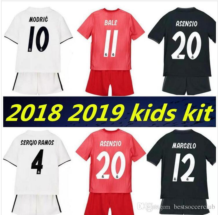 lowest price 98d0c 482b4 kids kit 2018 2019 Real Madrid Soccer Jersey 18 19 youth boy Child RONALDO  home away Soccer shirt Modric KROOS ISCO ASENSIO BALE Football