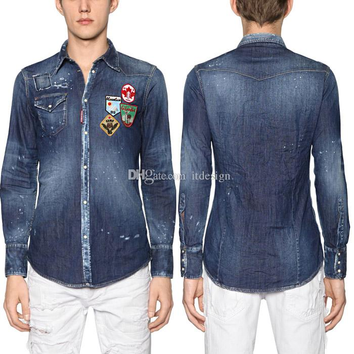 a3349ed02e9 2019 Young Man Fashion Design Denim Shirt Men Embroidery Badge Patchworks  Slim Fitness Jean Shirts Plus 3XL From Itdesign