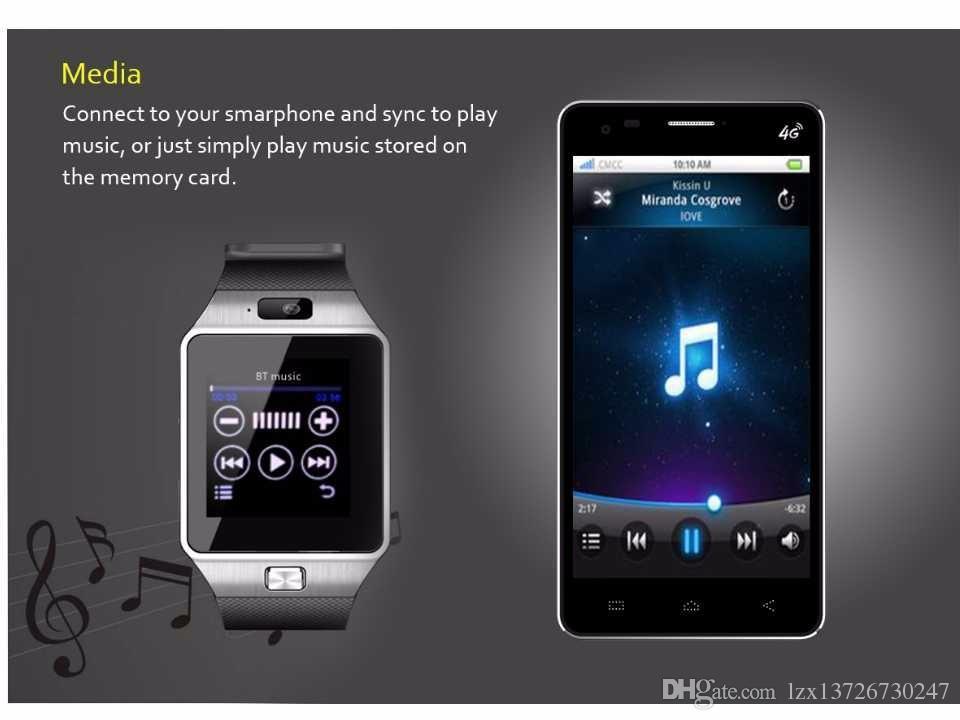 DZ09 Akıllı izle Bluetooth Giyilebilir Cihazlar Smartwatch iPhone Android Telefon İzle Camera Saat SIM / TF Yuvası