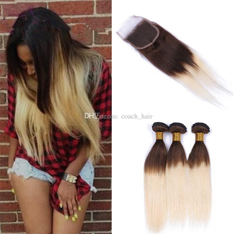2019 Chocolate Brown Blonde Ombre Lace Closure And Bundles Silky