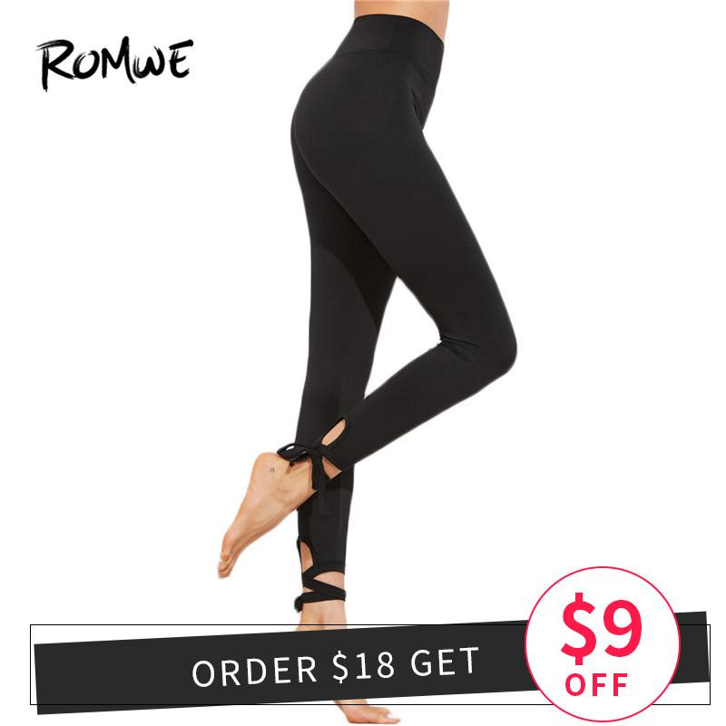 3777daacedb5f 2019 Romwe Ladies Lace Up Hem Leggings 2018 New Arrival Black Knot Woman  Bottoms Capris Plain Stretchy Yoga Pants From Curtainy, $43.21   DHgate.Com