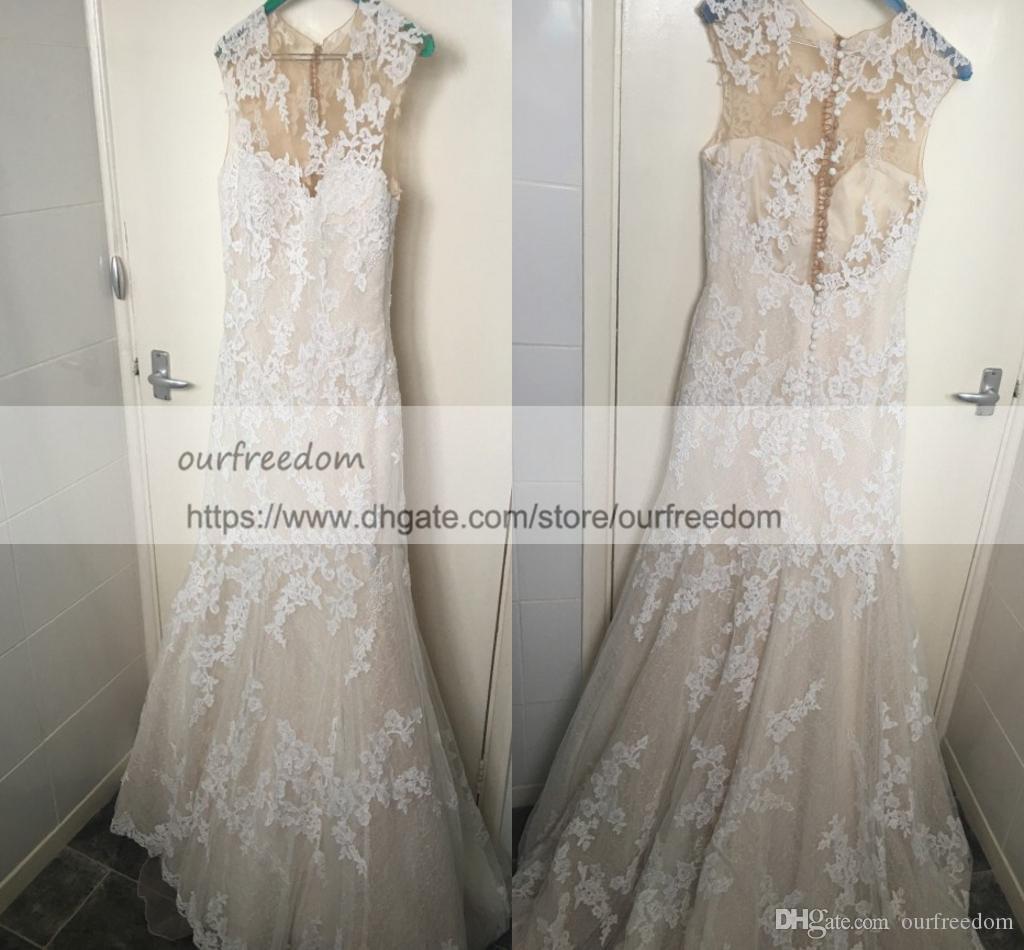 2018 Elegant Real Image Full Lace Brautkleider Sheer Jewel Neck Mermaid  Button Zurück Garten Brautkleid nach Maß