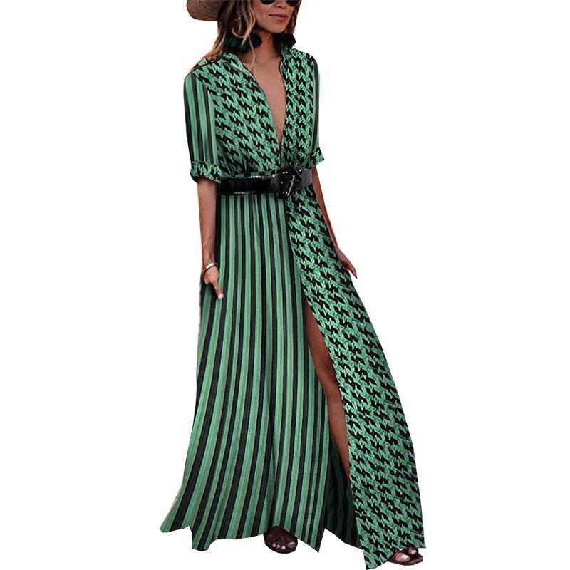 Vestido De Moda 2018 Vestido De Oscilación Atractivo Del Color Del Contraste De Polka Cosido Diseño Popular De La Calle Flojo Del Diseño De Las