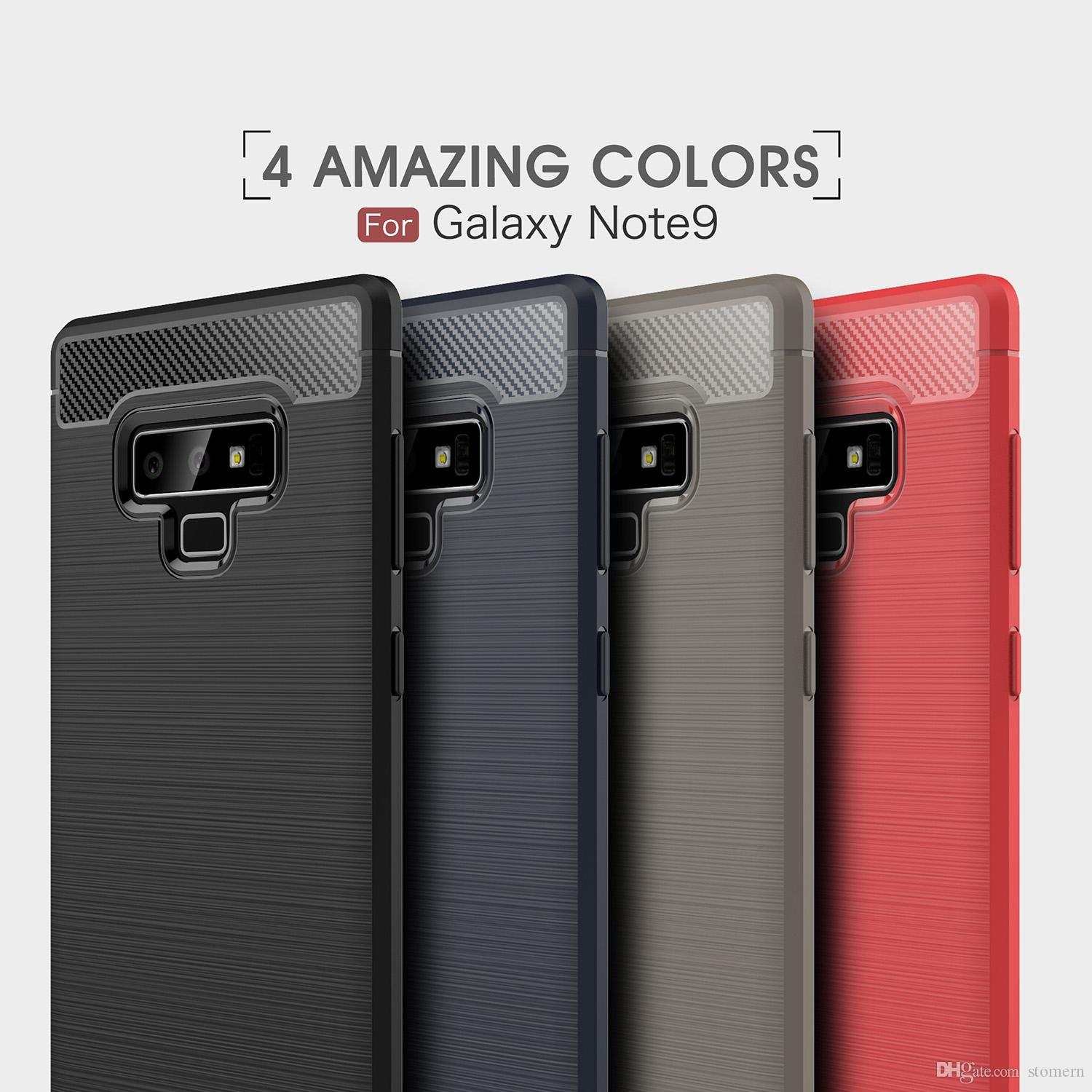 Carbon Fiber Case For Samsung Galaxy Note 9 8 S8 S9 Plus S7 Edge S6 Brushed Silicone Soft Rubber Back Cover Slim Armor Rugged Shell Case For Samsung Note