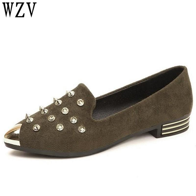 5f483243f 2018 Spring Autumn New Ladies Rivets Flat Shoes Casual Women Shoes  Comfortable Metal Pointed Toe Flat C192 Purple Shoes Ladies Footwear From  Annawawa, ...