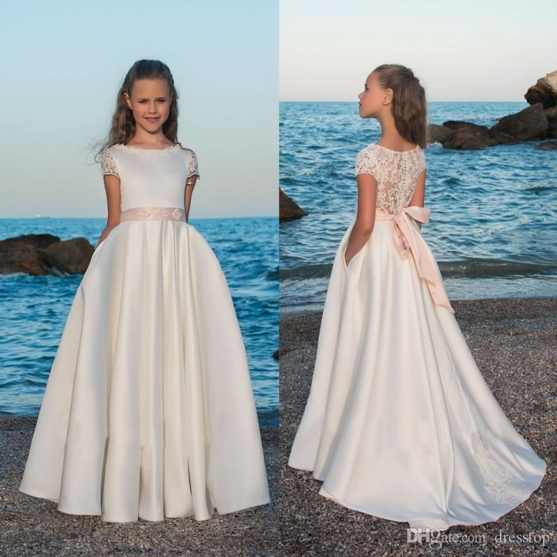 Sweet Beach Flower Girls Dresses For Weddings 2018 Lace Cap Sleeve ...