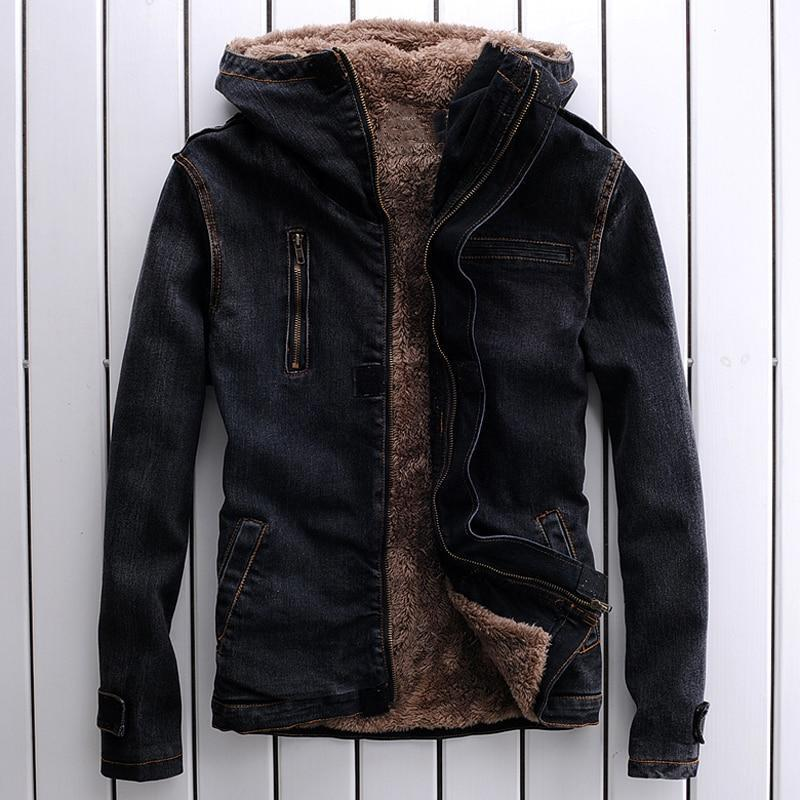 New 2018 Winter Men Denim Jacket Warm Fleece Jacket Brown Leather