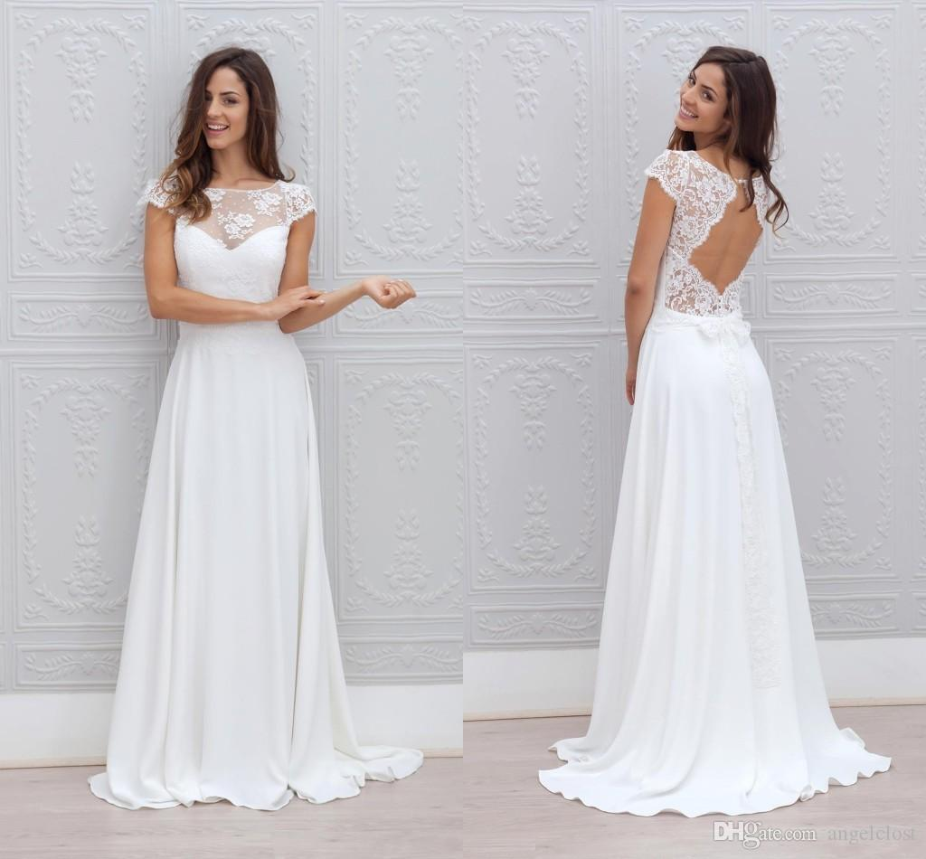 Simple Elegant Tulle A Line Scoop Neck Cap Sleeves Lace: Discount Elegant Beach Wedding Dress 2018 Scoop Neck A
