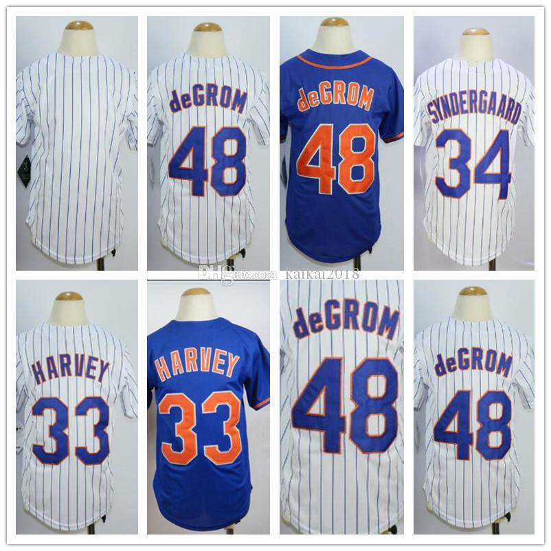 2018 Youth NY Mets Jerseys 48 DeGrom 33 Harvey  34 White Strips Blue Kids  Cool Base Baseball Jerseys Wholesale Embroidery 100% Stitched 48 DeGrom 33  Harvey ... 405eca8c8