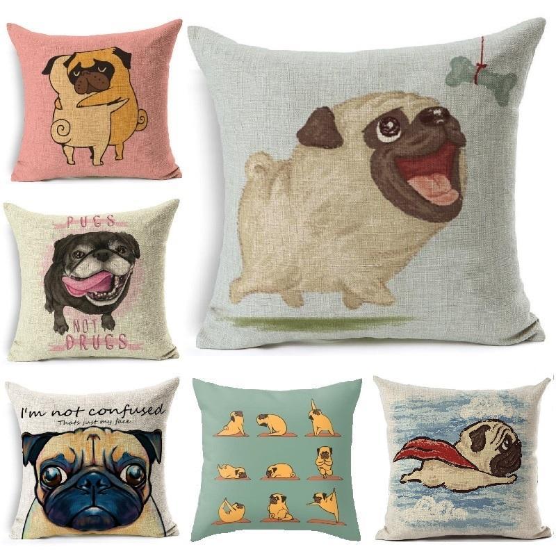 New Cushion Cover Dog Pugs Printied Linen Throw Pillow Animals Pillows  Cover Car Sofa Home Decorative Pillowcase Decorativos Wicker Patio Cushions  Cheap ...