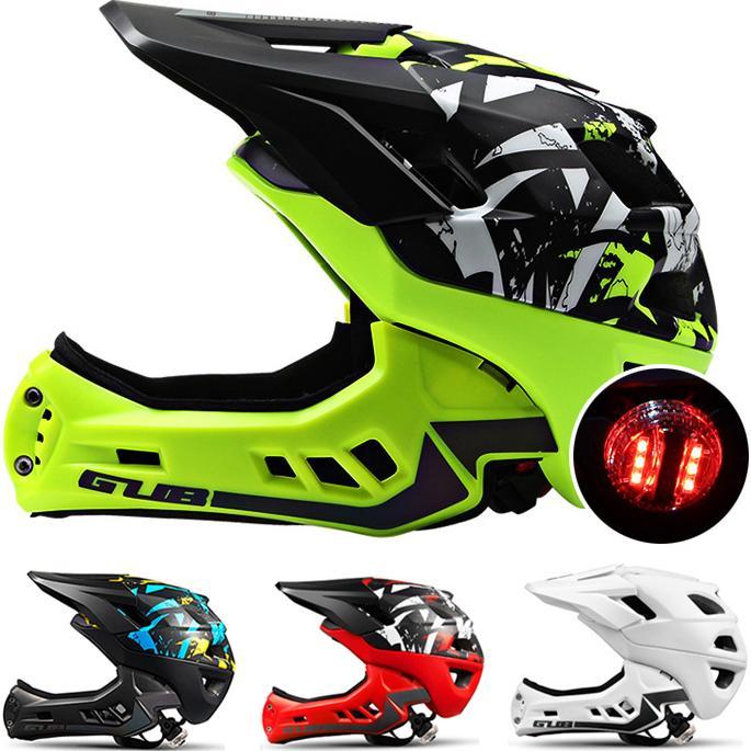 893e18d9c8676 Casco de bicicleta de cara completa para niños Luz LED   Tira de reflector    Desmontable Chin Guard MTB   Casco de bicicleta de carretera Casco de  seguridad ...