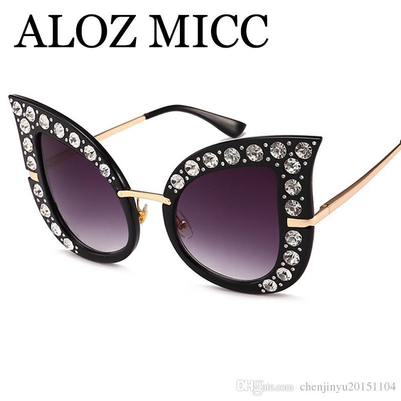 59dcdc8d72 Compre Aloz Micc Gafas De Sol De Lujo Diamante Ojo De Gato Gafas De Sol  Mujeres Gafas De Sol De Moda Gafas De Sol De Gran Tamaño Gafas De Sol Uv400  A539 ...