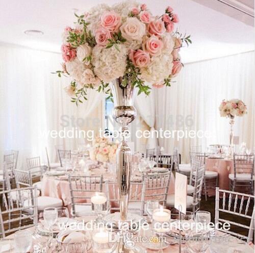 2018 Hot Sell New Sliver Gold Trumpet Vase For Wedding Centerpiece Sliver Flower Stand Vase