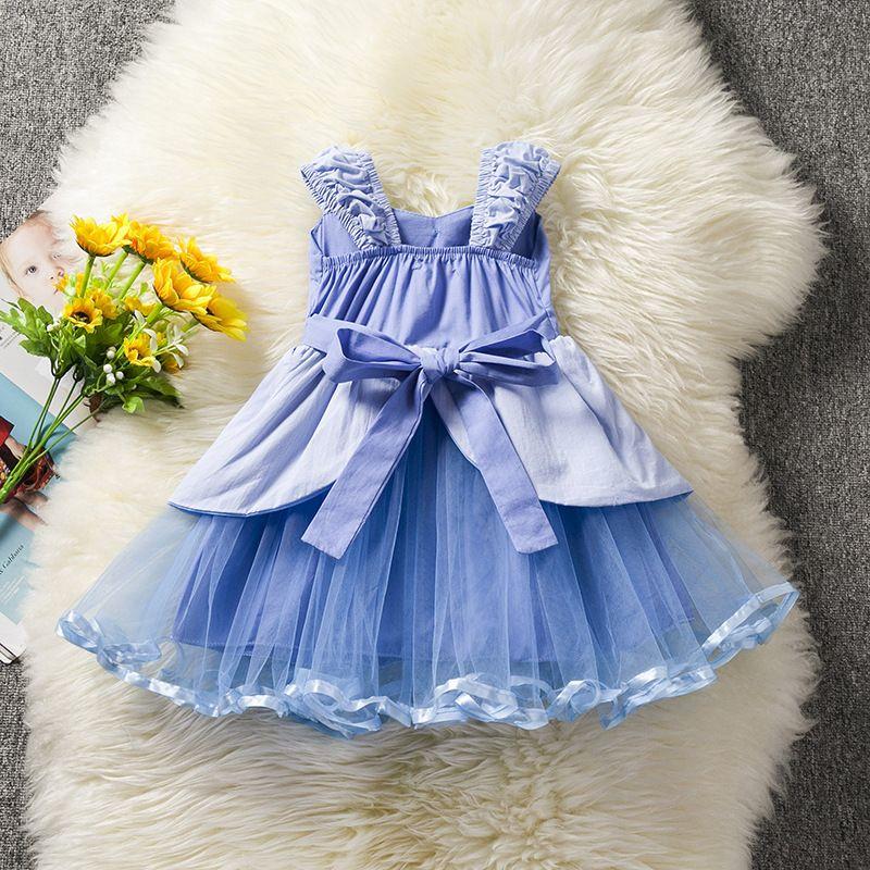 2018 nouvelles filles robes bébé fille été sans manches cendrillon princesses enfants mode dentelle gaze bow robe enfants vêtements livraison gratuite