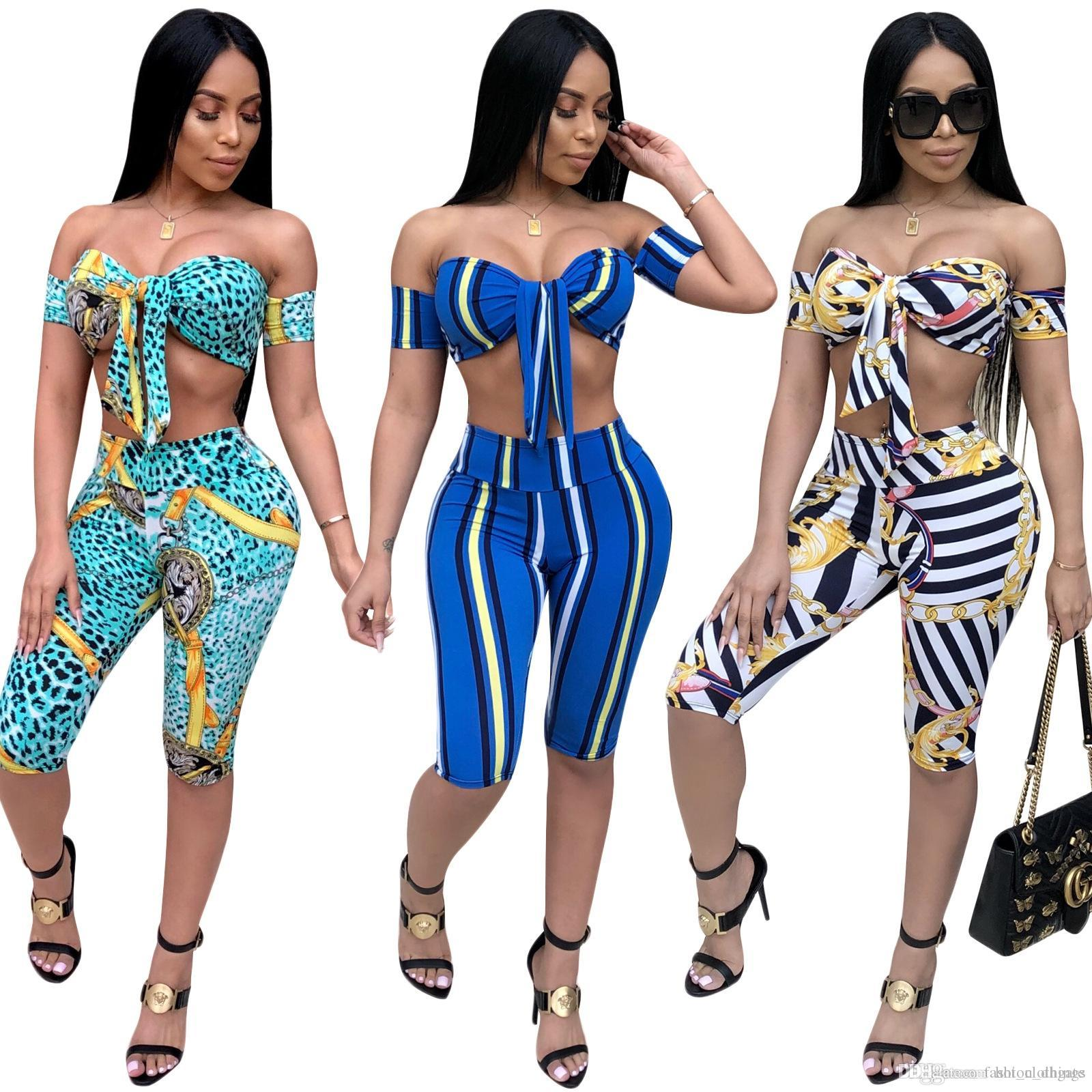 3c4c42ad1bb 2019 Women'S Summer Suits 2018 Fashion Slim Bohemian Short Sleeve Print Set  Beach Swimsuit Set Two Piece Striped Tracksuits From Hot_clothings, ...