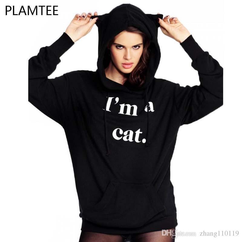 2018 Cat Ear Hoody Sweatshirts Kawaii Hoodie Women New Style Letter Printed Long Sleeve Tracksuits Black Hoodies Women's Clothing