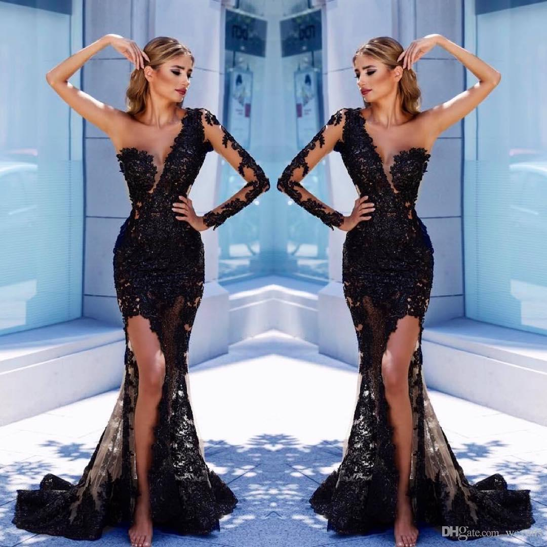 Stunning Black Lace Mermaid Evening Dresses Sheer Plunging Neck Long Sleeves Split Side Formal Dress Vestidos De Fiesta Sequined Prom Gown