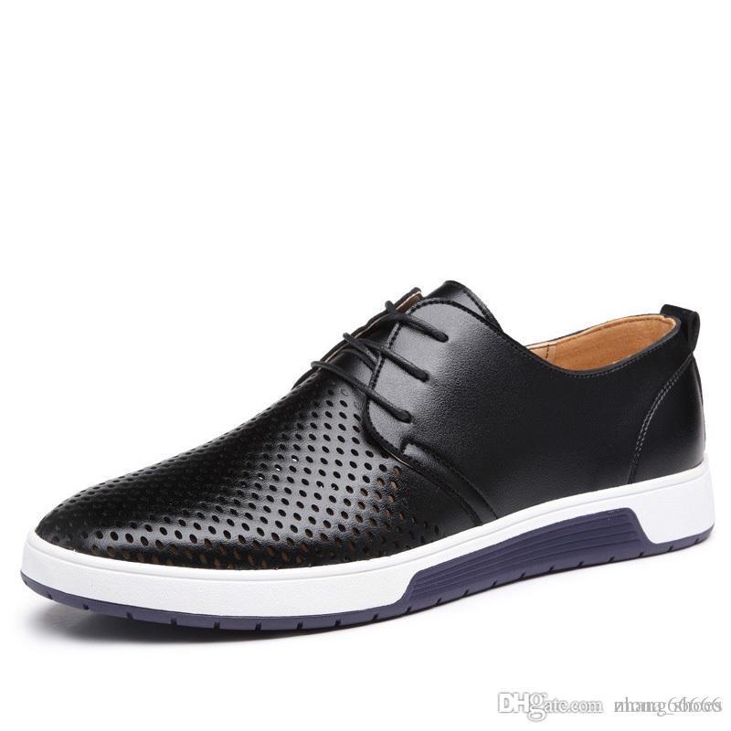 0a99bd35e83ea Compre Nuevos 2018 Hombres Zapatos Casuales De Cuero De Verano Agujeros  Respirables Marca De Lujo Zapatos Planos Para Hombres Envío De La Gota A   28.59 Del ...