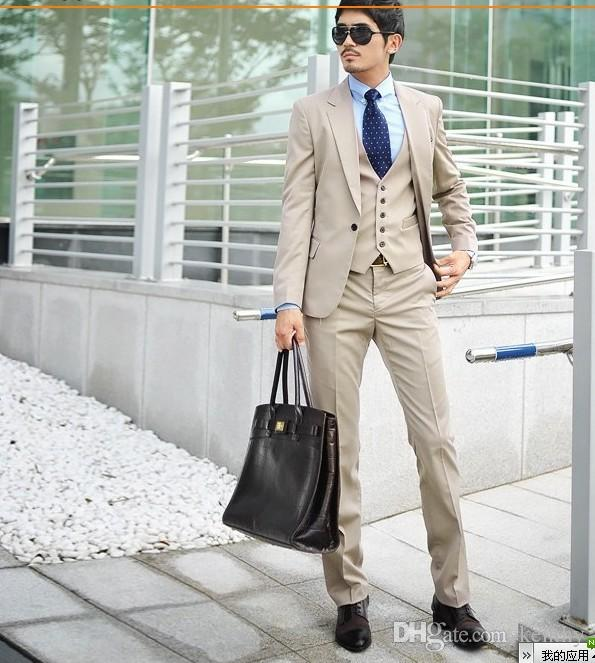 2018 Beige Men Suits Custom Made Tailored Tuxedo Business Suits Slim Fit Formal Wedding Suits Groomsman Prom Best Man Smart Casual