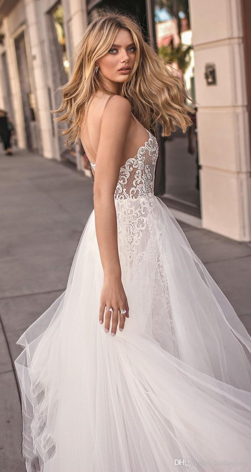 Muse By Berta 2018 Wedding Dresses Sweetheart Sheer Neck Full Lace Applique Bridal Gowns Summer Floor Length Wedding Dress With Overskirt