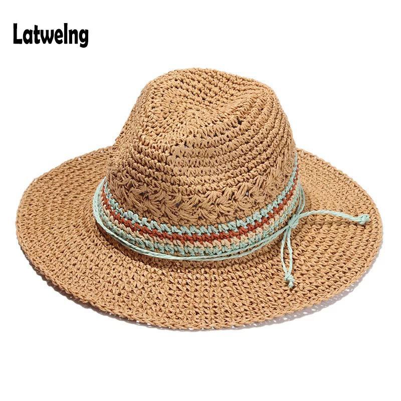 cc5666849b6 New Fashionable Summer Straw Sun Hats For Women Beach Hat Ladies Panama Hats  Visor Caps Paper Hat Handmade Floppy Brim Wide Flat Bill Hats Beach Hat  From ...