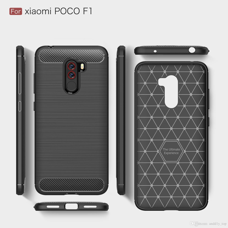 best website 48f82 ab4e2 For Xiaomi POCO F1 Case carbon fiber Design Soft TPU Cell Phone Back Cover  Shock-resistant Black Case