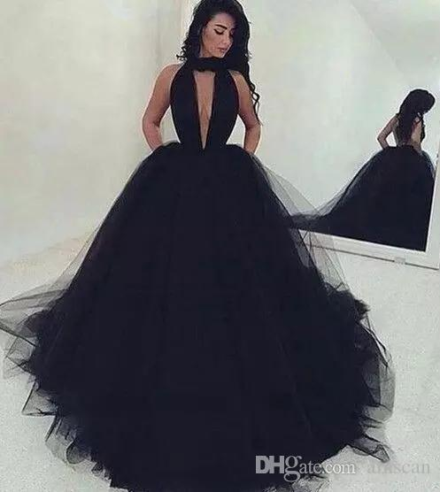 Arabic Sexy Backless Ball Gown Black Tulle Prom Dresses Long 2018 ...